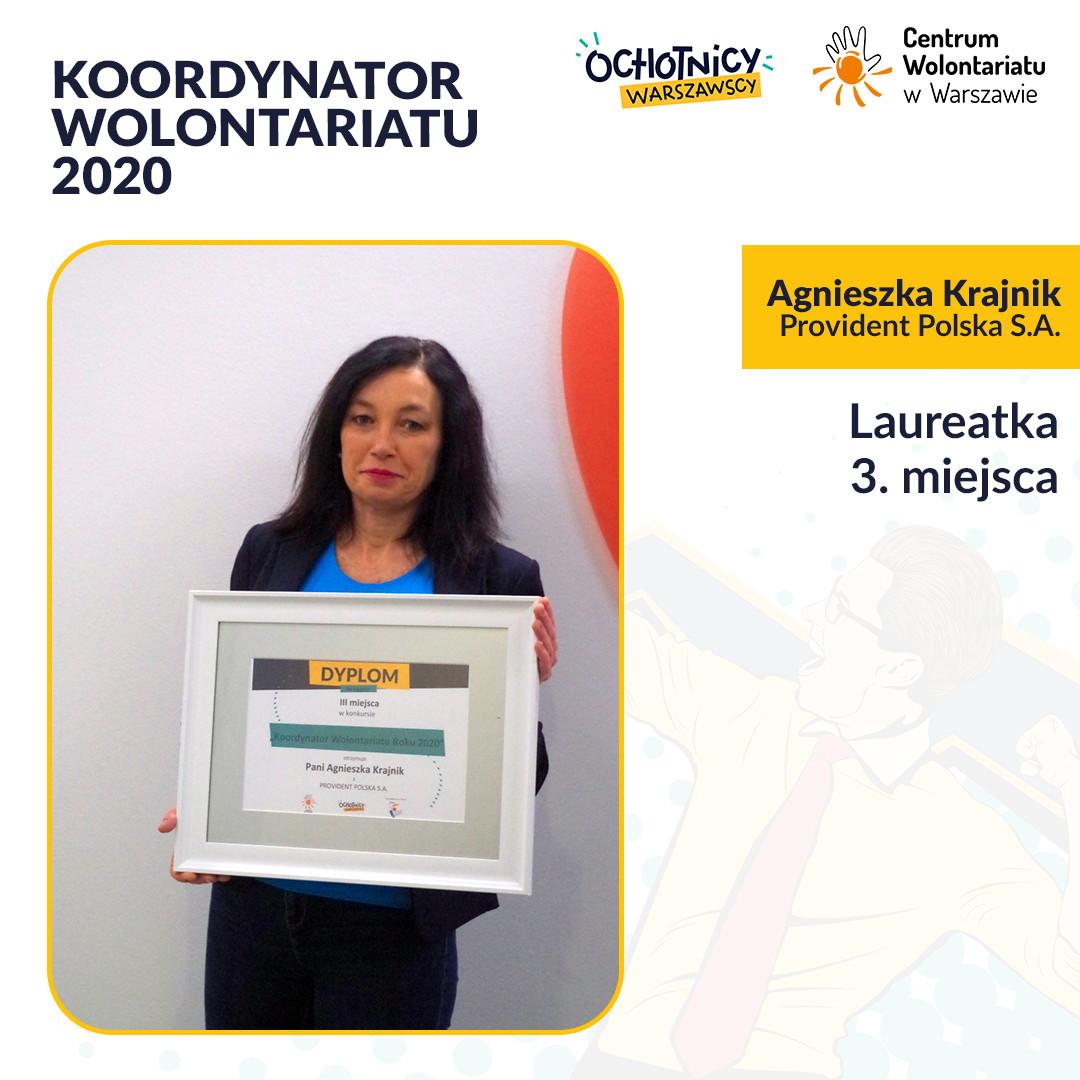 Agnieszka Krajnik z Provident Polska S.A. – laureatką III miejsca w Konkursie Koordynator Wolontariatu Roku 2020