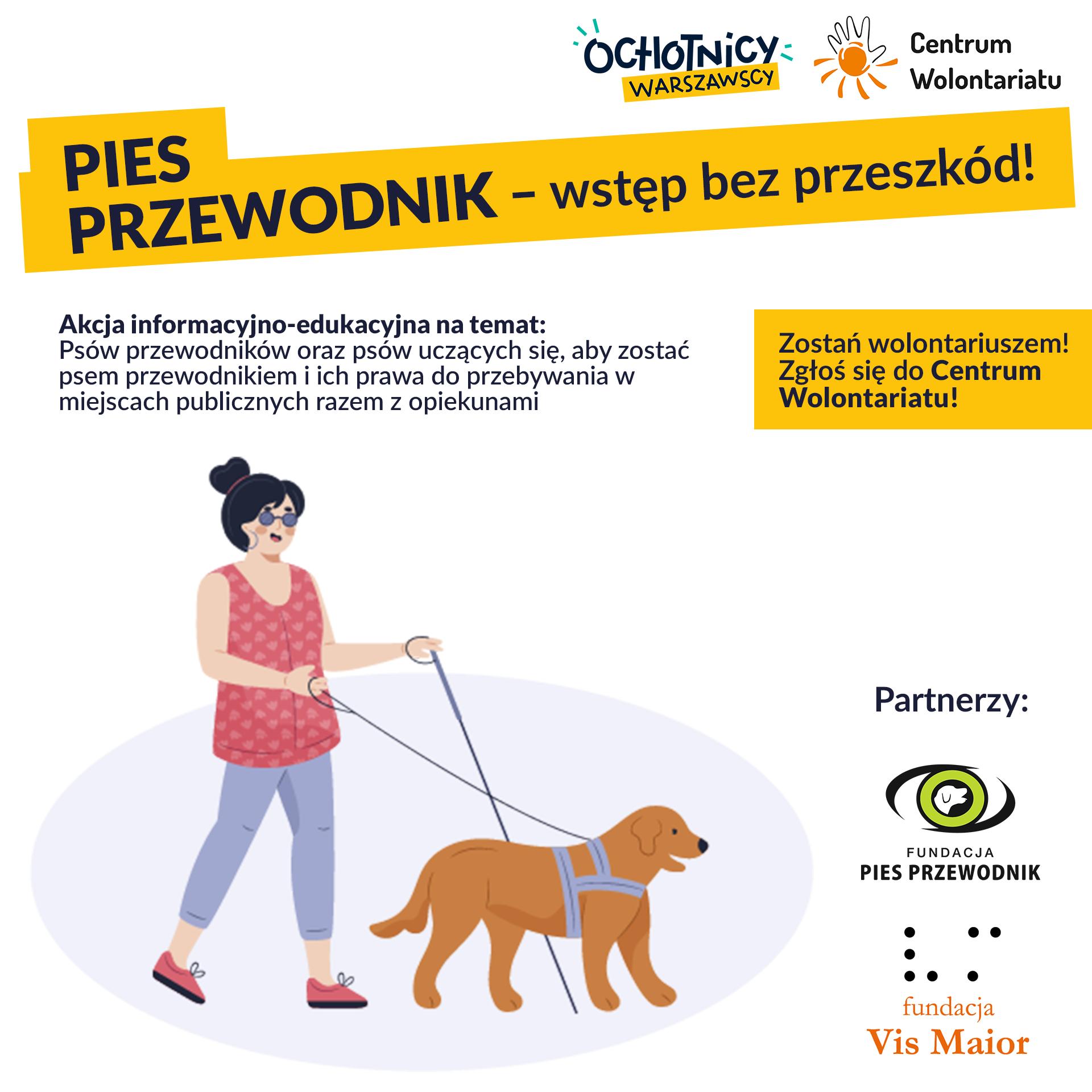 """Festiwal Ochotników Warszawskich – AKCJA WOLONTARIACKA """"PIES PRZEWODNIK – WSTĘP BEZ PRZESZKÓD!"""""""